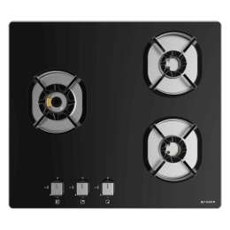 Faber 3 Burner Tufted Glass Built-in Gas Hob (Auto Electric Ignition, Nexus HT603 CRS BR CI, Black)_1