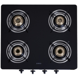 Elica 4 Burner Toughened Glass Gas Stove (Non-Auto Ignition, 594 CT VETRO BK, Black)_1