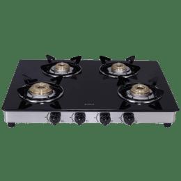 Elica 4 Burner Glass Gas Stove (Brass Burner, 694 CT DT VETRO, Black)_1