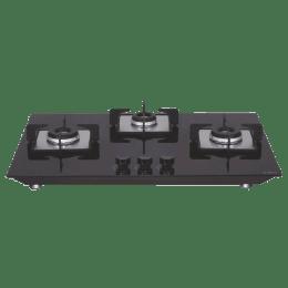 Elica 3 Burner Glass Built-in Gas Hob (Multi Ring Burners, Flexi HCT 375 DX LOTUS BK, Black)_1