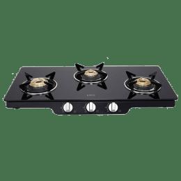 Elica 3 Burner Glass Gas Stove (European Gas Valve, Patio ICT 773, Black)_1