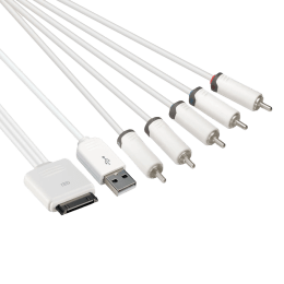 Prolink iPod 30 Pin + USB 2.0 (Type-A) to 5RCA AV Cable (White)_1