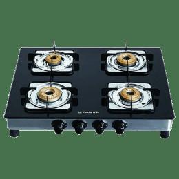 Faber 4 Burner Toughened Glass Gas Stove (Anti-Leak Technology, Supreme SS 4BB, Black/Silver)_1