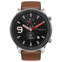 Amazfit GTR Smartwatch (GPS+Gloanass, 47mm) (Retina-grade AMOLED Display, A1902, Stainless Steel/Brown, Leather Band)_1