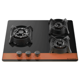 Faber 3 Burner Toughened Glass Built-in Gas Hob (Flame Failure Device, Utopia HT603 CRS BR CI AI, Black)_1