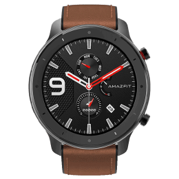 Amazfit GTR Smartwatch (GPS+Gloanass, 47mm) (Retina-grade AMOLED Display, A1902, Alluminium Alloy/Brown, Leather Band)_1