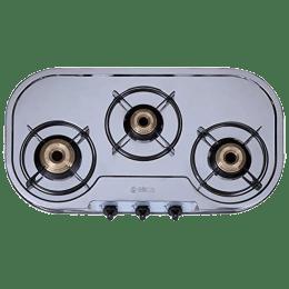Elica 3 Burner Stainless Steel Gas Stove (Brass Burner, INOX 753 SS, Silver)_1