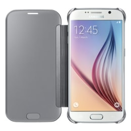 Samsung Galaxy S6 Plastic Clear View Flip Case Cover (EF-ZG920BSEGIN, Silver)_1