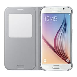 Samsung Galaxy S6 PU Leather S-view Flip Case Cover (EF-CG920BSEGIN, Silver)_1