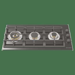 Faber 3 Burner Toughened Glass Built-in Gas Hob (Cast Iron Pan Support, FPH 903 BK, Black)_1