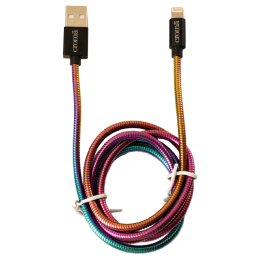 Croma Metal 1 Meter USB (Type-A) to Lightning Data Transfer USB Cable (For iPhones/iPads/iPods, CRCA1783, Multicolor)_1