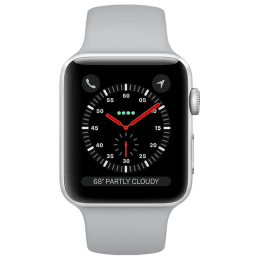Apple Watch Series 3 Smartwatch (GPS, 38mm) (Voice Based Siri, MQKU2HN/A, Silver/White, Silicone Fog Sport Band)_1