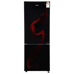 Haier 276 Litres 3 Star Frost Free Inverter Double Door Refrigerator (Bottom Mount, 8-in-1 Convertible, HRB-2964PSG-E, Spiral Glass Black)_1