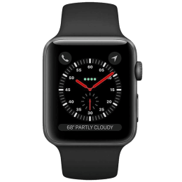 Apple Watch Series 3 Smartwatch (GPS+Cellular, 42mm) (Supports Apple Watch e-SIM, MTH22HN/A, Space Grey/Black, Sport Band)_1