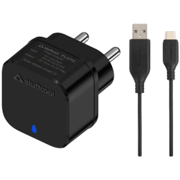Stuffcool Pluto Kit 2.1A 1-Port USB Wall Charging Adapter with Cable (LED Indicator, HKPLUTOCL-BLK, Black)_1