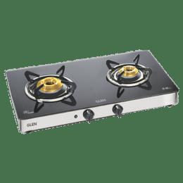 Glen 1021 GT HF 2 Burner Toughened Glass Gas Stove (Sturdy Pan Supports, CT1021GTFBHFAI, Black)_1