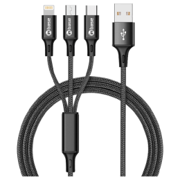 Inbase Trio 150 cm Nylon Braided Cable (BraidedTrio, Black)_1