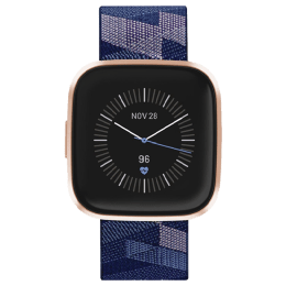 Fitbit Versa 2 Smartwatch (Color AMOLED Touchscreen Display, FB507RGNV, Copper Rose/Navy & Pink, Elastomer Band)_1