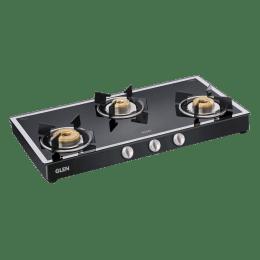Glen 1038 GT 3 Burner Toughened Glass Gas Stove (Ergonomic Knobs, CT1038GTFBMBL, Black)_1
