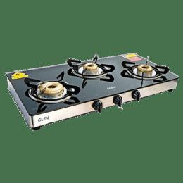Glen 1033 GT XL 3 Burner Toughened Glass Gas Stove (Sturdy Pan Supports, CT1033GTXLFBDD, Black)_1