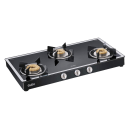Glen 1038 GT 3 Burner Toughened Glass Gas Stove (Ergonomic Knobs, CT1038GTFBMBLAI, Black)_1