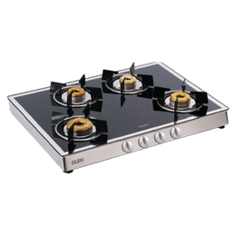 Glen 1048 GT 4 Burner Toughened Glass Gas Stove (Ergonomic Knobs, CT1048GTFBMBLAI, Black)_1