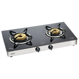 Glen 1021 GT 2 Burner Toughened Glass Gas Stove (Sturdy Pan Supports, CT1021GTFBHF, Black)_1