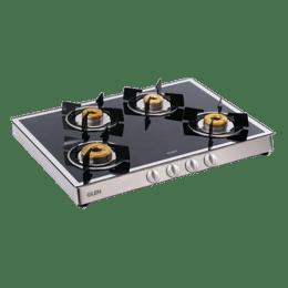 Glen 1048 GT 4 Burner Toughened Glass Gas Stove (Ergonomic Knobs, CT1048GTFBMBL, Black)_1