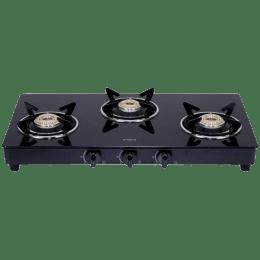 Elica 3 Burner Toughened Glass Gas Stove (Euro Coated Grid, 703 CT VETRO BLK, Black)_1