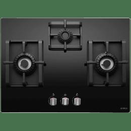 Elica 3 Burner Black Glass Built-in Gas Hob (Auto Ignition, Swirl Pro MFC 3B 70 DX, Black)_1