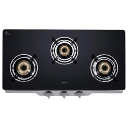 Elica 3 Burner Toughened Glass Gas Stove (Round Eurocoated Grids, Patio ICT DT 773 SS, Black)_1