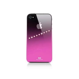 White Diamonds Back Case Cover for Apple iPhone 4/4S (SAS41, Pink/Black)_1