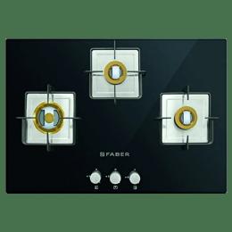 Faber 3 Burner Toughened Glass Built-in Gas Hob (Square CI Finish, HTG 753 CRS BR CI, Black)_1