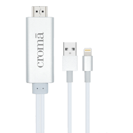 Croma HDMI (Type-A) to USB 2.0 (Type-A) + Lightning Cable (CA1777 W2327, White)_1