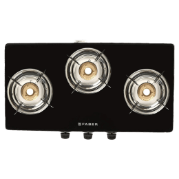 Faber 3 Burner Glass Gas Stove (Brush Steel Finish Frame, Splendor 3BB SS AI, Black)_1