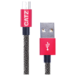 Catz Rugged 200 cm USB (Type-A) to Micro USB Cable (CZ-MU-SV-2M, Silver)_1