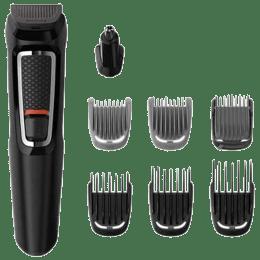 Philips Multigroom Series 3000 Self-sharpening Steel Blades Cordless 8-in-1 Face & Hair Grooming Kit (MG3730/15, Black)_1