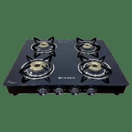 Faber 4 Burner Glass Gas Stove (Manual Ignition, Splendor 4BB BK, Black)_1
