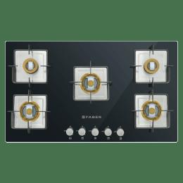 Faber 5 Burner Glass Built-in Gas Hob (Anti-leakTechnology, HTG 905 CRS BR CI, Black)_1