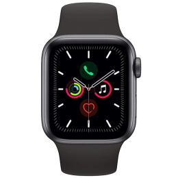 Apple Watch Series 5 (GPS + Cellular, 44 mm) Space Grey Aluminium Case with Black Sport Band (MWWE2HN/A)_1
