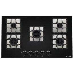 Faber Imperia 905 BRB CI 5 Burner Toughenend Glass Built-in Gas Hob (Cast Iron Pan Supports, 106.0581.649, Black)_1