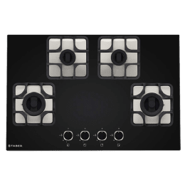 Faber Imperia Plus 784 BRB CI 4 Burner Glass Built-in Gas Hob (Cast Iron Pan Supports, 106.0581.652, Black)_1