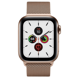 Apple Watch Series 5 (GPS + Cellular, 40 mm) Gold Stainless Steel Case with Gold Milanese Loop (MWX72HN/A)_1