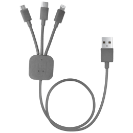 Portronics TPE 0.4 Meter USB 2.0 (Type-A) to Lightning Multi Utility USB Cable (For Android & iOS Smartphones, POR-013, Grey)_1