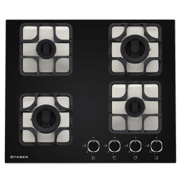 Faber Imperia 604 BRB CI 4 Burner Toughened Black Glass Built-in Gas Hob (Cast Iron Pan Supports, 106.0581.646, Black)_1