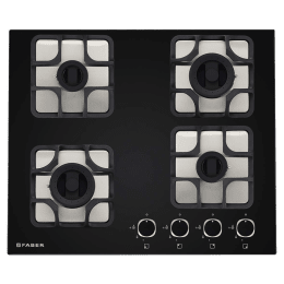 Faber Imperia Plus 604 BRB CI 4 Burner Glass Built-in Gas Hob (Cast Iron Pan Supports, 106.0581.650, Black)_1