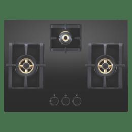 Elica 3 Burner Glass Built-in Gas Hob (Round Mettalic Knobs, Pro FB MFC 3B 70 DX FFD, Black)_1