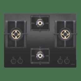 Elica 4 Burner Glass Built-in Gas Hob (Square Grids, Pro FB MFC 4B 70 DX FFD, Black)_1