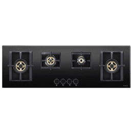 Elica 4 Burner Glass Built-in Gas Hob (Round Mettalic Knobs, Pro FB MFC 4B 120 DX FFD, Black)_1