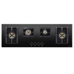Elica 4 Burner Glass Built-in Gas Hob (Round Mettalic Knobs, Pro FB MFC 4B 100 DX FFD, Black)_1